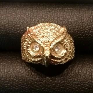 【キューティクルハニー様専用】K18イエローゴールド ダイヤモンド付 フクロウ (リング(指輪))