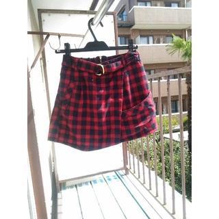 ミスティウーマン(mysty woman)のmysty woman チェック 台形スカート ショートパンツ ベルト付き(ミニスカート)