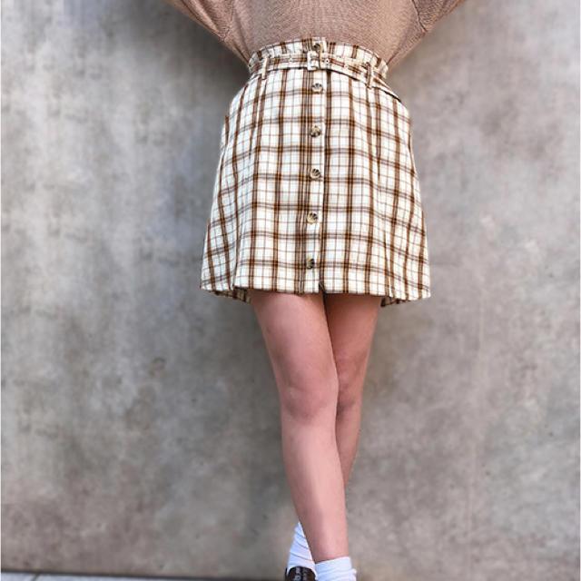 one after another NICE CLAUP(ワンアフターアナザーナイスクラップ)のナイスクラップ チェックミニ台形スカート レディースのスカート(ミニスカート)の商品写真