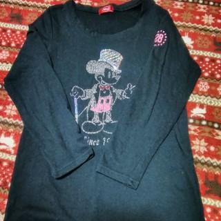 ディズニー(Disney)の中古 サイズLL レディース ロンT ブラック ミッキー(Tシャツ(長袖/七分))