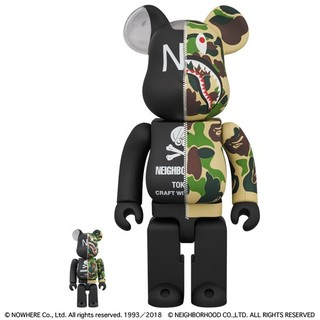 MEDICOM TOY - NEIGHBORHOOD APE BE@RBRICK 400% & 100%