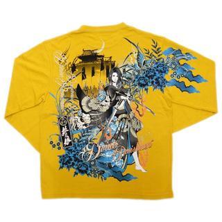 カラクリタマシイ(絡繰魂)の送料無料抜刀娘絡繰魂261103新品和柄メンズロンT長袖Tシャツ黄LL(XL)(Tシャツ/カットソー(七分/長袖))
