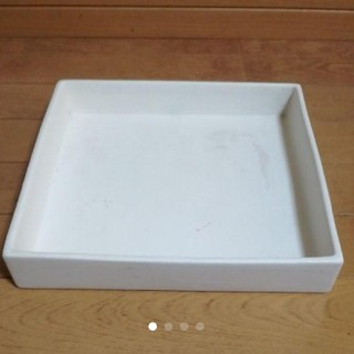 陶器真っ白なスクエア大 受け皿ガーデニング