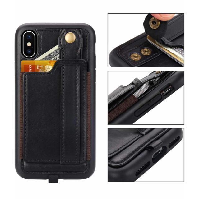 iPhone Xs ケース レザー調 携帯ストラップ付き スマホ/家電/カメラのスマホアクセサリー(iPhoneケース)の商品写真