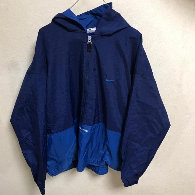 NIKE(ナイキ)の90s NIKE アノラックパーカー ナイロンジャケット 古着 ビンテージ  青 レディースのジャケット/アウター(ナイロンジャケット)の商品写真