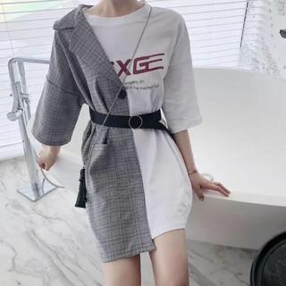 韓国 ファッション 流行り パッチワーク(Tシャツ(長袖/七分))
