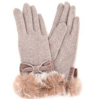 クーコ(COOCO)のクーコ ラビットファー&リボン手袋(手袋)