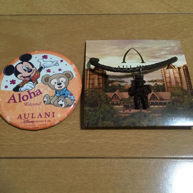 Disney(ディズニー)のハワイ アウラニ 缶バッジ ディズニーリゾート アメニティ メネフネ ネックレス エンタメ/ホビーのおもちゃ/ぬいぐるみ(キャラクターグッズ)の商品写真