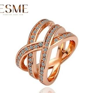 ⭐即日発送⭐編み込み デザイン 指輪 高品質 クロスリング 16サイズリング❤(リング(指輪))