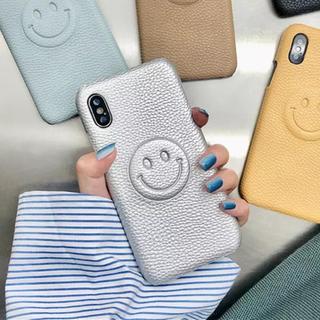 ザラ(ZARA)の新品◼️レザー調ニコちゃん シルバー スマイル iPhoneケース(iPhoneケース)