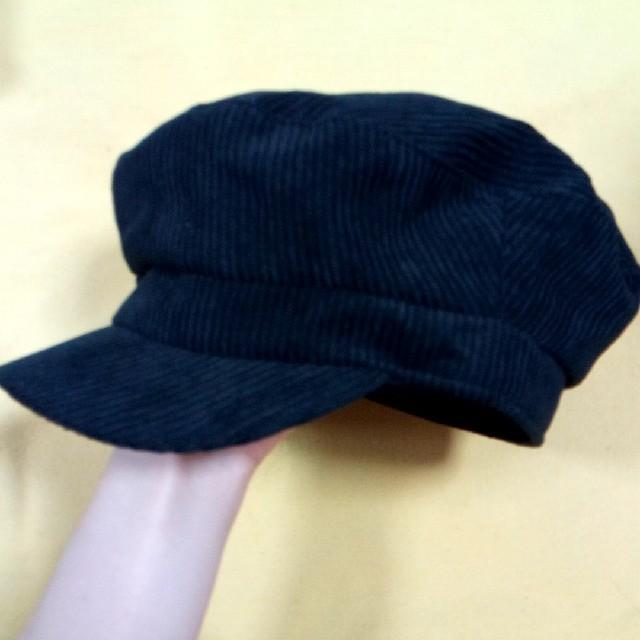 コーデュロイマリンキャス 黒 ヘミングス レディースの帽子(キャップ)の商品写真