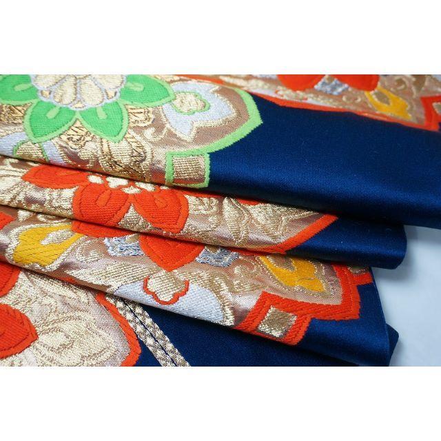 花紋 レトロ柄 袋帯 正絹 金糸 銀糸 花紺青色 091 キモノリワ レディースの水着/浴衣(帯)の商品写真