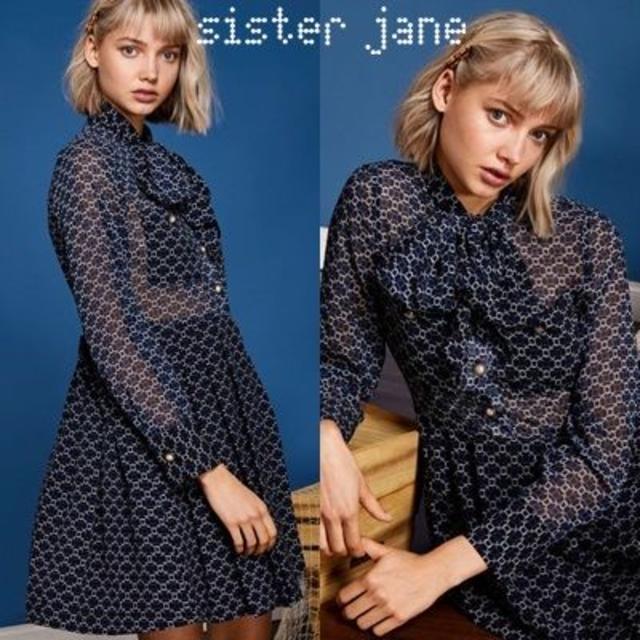 SisterJane シスタージェーン パールボタン リボン ミニワンピース レディースのワンピース(ミニワンピース)の商品写真