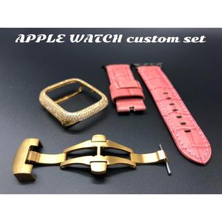 アップルウォッチ(Apple Watch)のアップルウォッチ用カスタムセット★44mm AA2カバー&極厚パネライベルト(腕時計(デジタル))