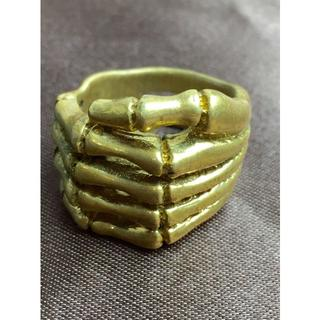 K18 骸骨の手 モチーフ ヴィンテージ イエローゴールド リング 15号(リング(指輪))
