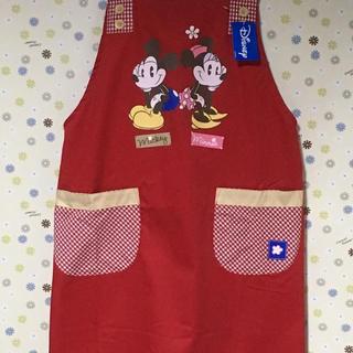 ディズニー(Disney)の保育士 エプロン  ミッキー&ミニー 赤(その他)