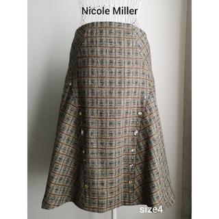ニコルミラー(Nicole Miller)の美品 Nicole Miller  上質華やかAラインスカート(ひざ丈スカート)