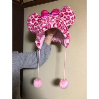 ディズニー(Disney)のミニー帽子 ヒョウ柄 ピンク(その他)