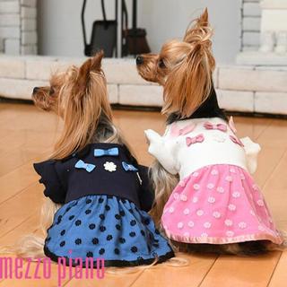 メゾピアノ(mezzo piano)の【新品・タグ付き】メゾピアノ♡花柄レースワンピース♡ネイビー♡DM(犬)