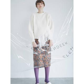 アメリヴィンテージ(Ameri VINTAGE)のELENDEEK POINT FRINGE KT WHITE(ニット/セーター)