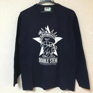 ダブルスティール(DOUBLE STEAL)のダブルスティール ロンT L 長袖 Tシャツ ストリート ロゴ ネイビー(Tシャツ/カットソー(七分/長袖))