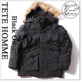 テットオム(TETE HOMME)のBlack on テットオム N-3B ジャケット 黒 中綿 3WAY ギャザー(ミリタリージャケット)