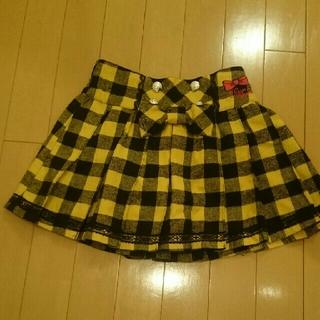 ティンカーベル(TINKERBELL)のティンカーベル 制服風 黄色×黒チェック柄プリーツスカート140(スカート)