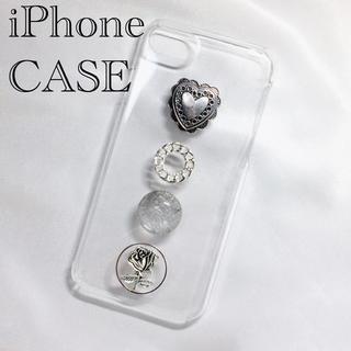 【在庫1】オリジナル iPhoneケース ハート コンチョ チェーン 薔薇