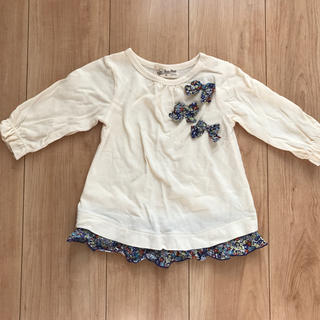 センスオブワンダー(sense of wonder)の一回着用‼︎☆リバティー柄リボン付きトップス90♡(Tシャツ/カットソー)