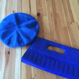 春♡ブルークラッチバッグとベレー帽セット(ハンチング/ベレー帽)