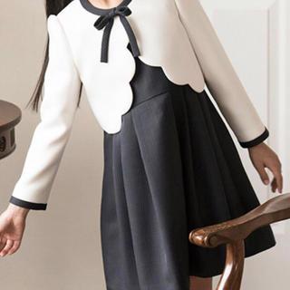 Catherine Cottage - 入学式スーツ スカラップボレロ&ストライプワンピース 130