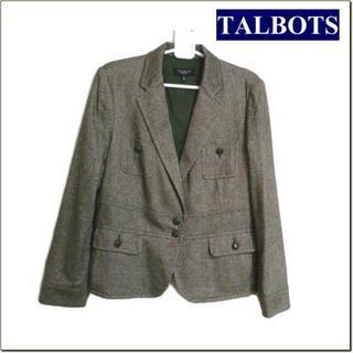 タルボット(TALBOTS)のTALBOTS◆グリーン系ネップツイード調ジャケット◆大きいサイズ(テーラードジャケット)