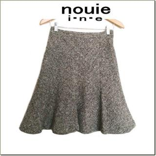 インエ(i.n.e)のnouie i.n.e◆フランドル◆茶アイボリー系ツイードフレアスカート◆2(ひざ丈スカート)
