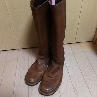 サヤ(SAYA)のSAYA 本皮 ロングブーツ 茶色 24cm(ブーツ)