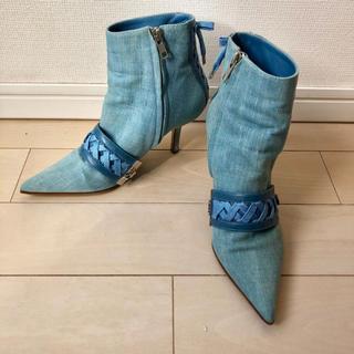 クリスチャンディオール(Christian Dior)のディオール Dior 靴 ショートブーツ 36 23 デニム レースアップベルト(ブーツ)