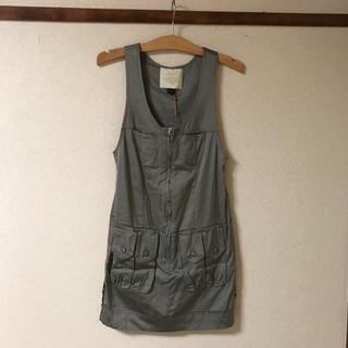 ジェットレーベル(JET LABEL)の●新品 ジャケットレーベル ジャンバースカート   フリーサイズ   チャコール(ミニワンピース)
