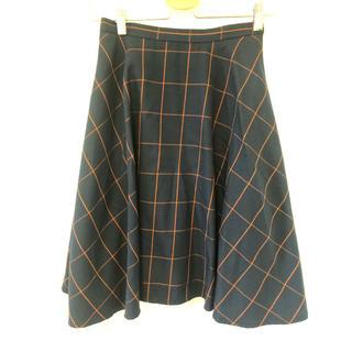 オフオン(OFUON)のオフオン チェック フレア スカート(ひざ丈スカート)