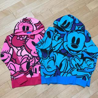 ディズニー(Disney)のディズニーランド購入!裏起毛スウェットフルジップパーカーLサイズ/ブルー(パーカー)