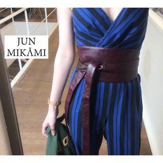 ジョンリンクス(jonnlynx)の美品 junmikami ジュンミカミ サッシュ ベルト レザー ボルドー(ベルト)