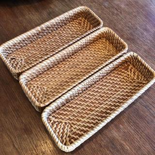 MUJI (無印良品) - 無印良品 重なるラタン 長方形ボックス ハーフ 3点