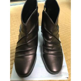 合皮ショートブーツ ブラウン 22(ブーツ)