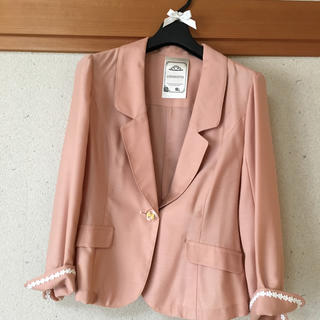 ロディスポット(LODISPOTTO)のLODISPOTTO ジャケット 七分袖 リボン お花 ピンク ロディスポット (テーラードジャケット)