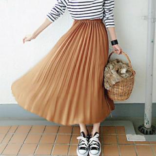 GU - c 美品 gu ジーユー イージー プリーツスカート ブラウン Sサイズ