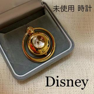 ディズニー(Disney)の時計 未使用 ブローチ ミッキー ウォッチ ディズニー ゴールド(ブローチ/コサージュ)