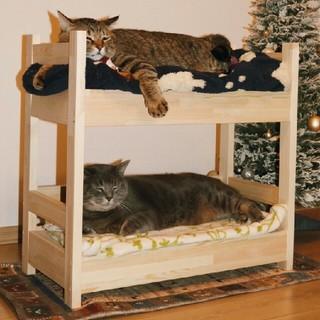 木製 ハンドメイド 猫用二段ベッド