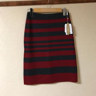 コルディア(CORDIER)の● 新品 CORDIER 羊毛 ボーダータイトスカート   (ひざ丈スカート)