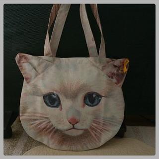 アチャチュムムチャチャ(AHCAHCUM.muchacha)の猫ネコねこ顔柄 トートバッグ 2点セット 転写プリント ムチャチャ (トートバッグ)