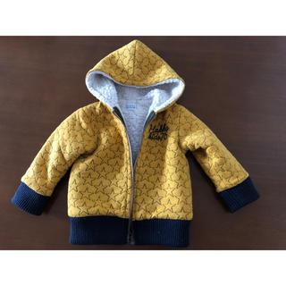 ハッカベビー(hakka baby)の男の子 女の子 ハッカベビー パーカー アウター 90 スター 星 黄モコモコ暖(ジャケット/上着)