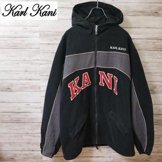 カールカナイ(Karl Kani)の90's KARL KANI ビッグロゴ フリースパーカー 袖ワンポイントロゴ(パーカー)