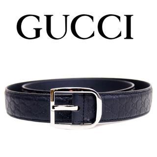 グッチ(Gucci)の【32】GUCCI マイクログッチシマ ネイビー レザー ベルト size 95(ベルト)